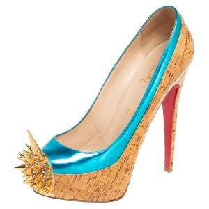 Christian Louboutin Beige/Blue Leather And Cork Asteroid Pumps Size 38