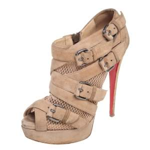 Christian Louboutin Beige Fishnet And Suede Mad Marta Platform Ankle Boots Size 38.5