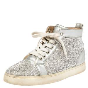 Christian Louboutin Silver Leather And Crystal Embellished  Louis Spikes High-Top Sneakers Size 38.5