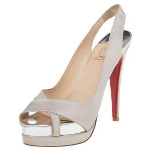 Christian Louboutin Grey Satin Soso Slingback Sandals Size 36.5