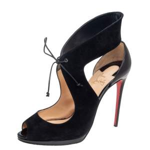 Christian Louboutin Black Suede And Leather Campanina Sandals Size 39
