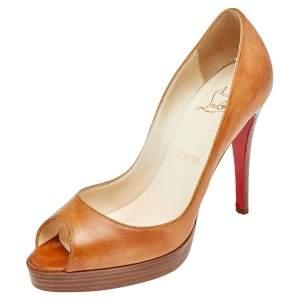 Christian Louboutin Tan Leather Peep Toe Platform Pumps Size 38.5