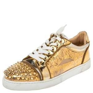 Christian Louboutin Gold PVC and Leather Spiked Orlato Low Top Sneakers 38.5