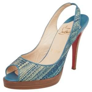 Christian Louboutin Blue Raffia And Leather Peep Toe Slingabck Sandals Size 38