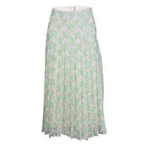 Christopher Kane Mint Plasma Floral Lace Pleated Midi Skirt S