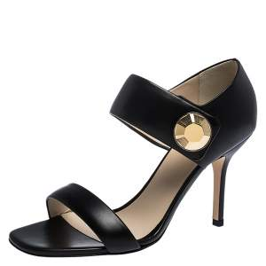 Christopher Kane Black Leather Metal Detail Sandals Size 39