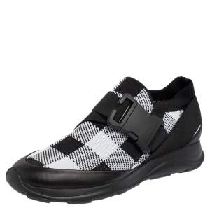 Christopher Kane Black/White Fabric Safety Buckle Low Top Sneakers Size 38