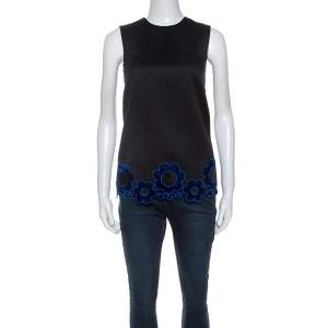 Christopher Kane Black Cotton Blend Flower Applique Trim Sleeveless Top S