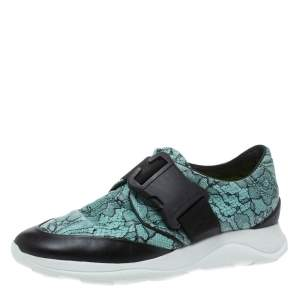 Christopher Kane Black/Blue Lace Print Leather Safety Buckle Low Top Sneakers Size 36.5