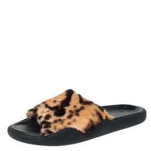 Christopher Kane Brown Leopard Print Fur Pool Slides Size 38