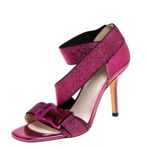 Christopher Kane Pink Glitter And Leather Ankle Strap Sandals Size 37