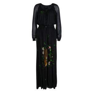 Class by Roberto Cavalli Black Leopard Figure Floral Print Long Sleeve Maxi Dress S