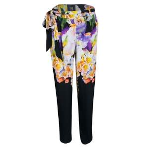Cavalli Class Multicolor Floral Printed Loose Fit Belted Pants M