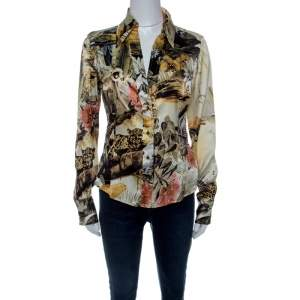 Class by Roberto Cavalli Floral Printed Stretch Silk Satin Button Front Shirt  M