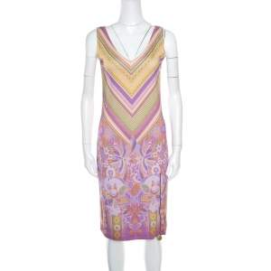 Class by Roberto Cavalli Purple Printed V-Neck Sleeveless Dress M