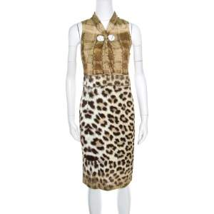 Class by Roberto Cavalli Multicolor Animal Printed Snake Buckle Detail Cutout Back Dress M