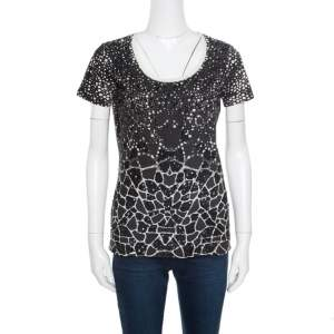 Cavalli Class Monochrome Dotted Sequined T-Shirt S