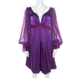 Class by Roberto Cavalli Purple Satin Embroidered Waist Detail Plunge Neck Dress M