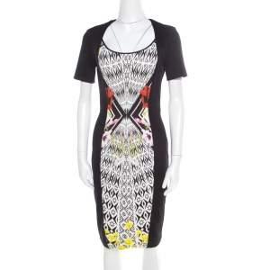 Roberto Cavalli Black Jacquard Contrast Printed Panel Short Sleeve Dress M