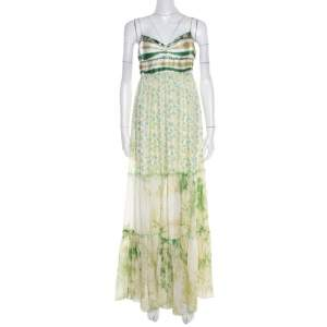 Class by Roberto Cavalli Green and White Printed Ruffled Detail Sleeveless Maxi Dress M