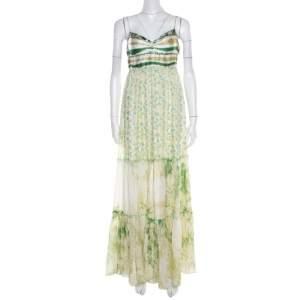 Class by Roberto Cavalli Green and White Printed Ruffled Detail Sleeveless Maxi Dress M