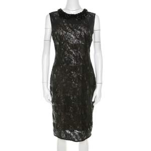 Class by Roberto Cavalli Black Sequined Lace and Beaded Collar Detail Dress M