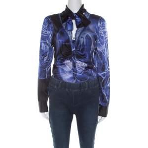 Class by Roberto Cavalli Blue Silk Satin Lace Neckline Bodysuit M