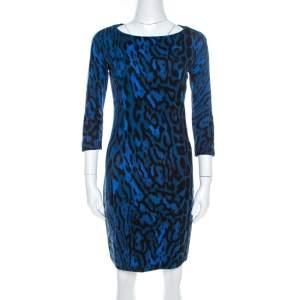 Just Cavalli Blue Leopard Print Back Cut-Out Midi Dress S