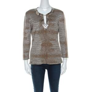 Class by Roberto Cavalli Brown & Grey Snake Pattern Snakeskin Neck Detail Knit Top L