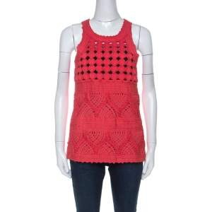 Cavalli Class Coral Red Cord Lace Embroidered Sleeveless Top M