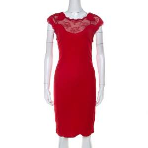 Class By Roberto Cavalli Red Lace Insert Detail Sleeveless Dress M