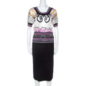 Class By Roberto Cavalli Multicolor Printed Bodice Knit Detail Sheath Dress M