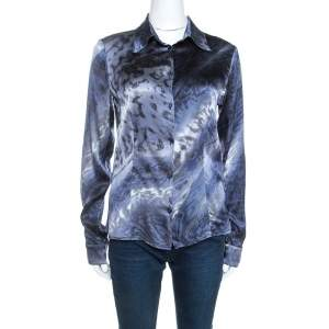Class by Roberto Cavalli Multicolor Printed Stretch Silk Satin Shirt M