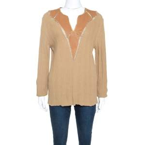 Class by Roberto Cavalli Tan Rib Knit Leather Trim Top XXL