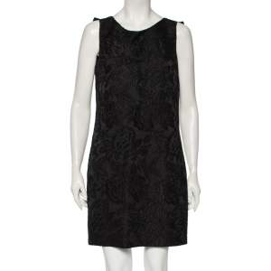 Class by Roberto Cavalli Black Floral Jacquard Bow Detailed Short Dress M