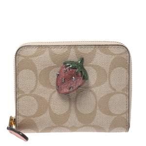 Coach Beige Signature Coated Canvas Strawberry Zip Around Wallet