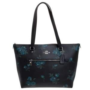 Coach Black Floral Print Coated Canvas and Leather Taylor Tote