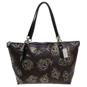 Coach Brown Signature Printed Coated Canvas Ava Top-Zip Tote