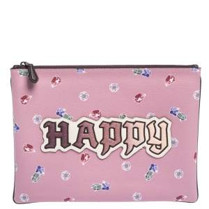 Coach Pink Coated Canvas Large Happy Disney Snow Clutch