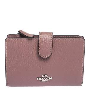 Coach Pink Textured Leather Compact Wallet