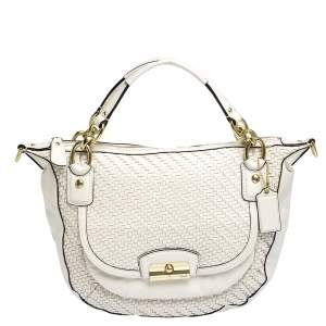 Coach White Woven Leather Kristin Hobo