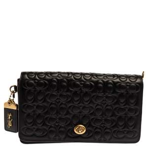 Coach Black Signature Embossed Leather Dinky Crossbody Bag
