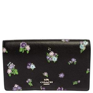 Coach Black Floral Print Leather Hayden Crossbody Bag