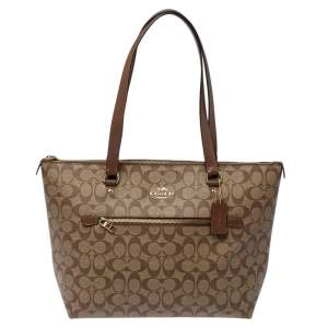 Coach Beige/Brown Signature Coated Canvas and Leather Gallery Tote