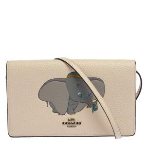Coach Off White Pebbled Leather Dumbo Foldover Crossbody Bag