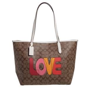 Coach Beige/White Signature Love Print Coated Canvas and Leather  City Tote