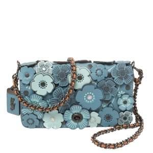 Coach Blue Leather Flower Applique Dinky Shoulder Bag
