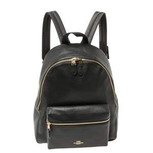 حقيبة ظهر كوتش شارلى جلد حصى سوداء