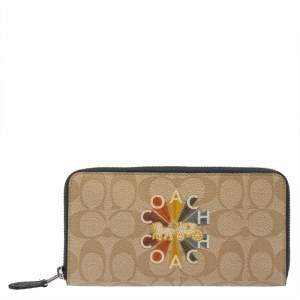 Coach Beige Signature Coated Canvas Radial Rainbow Accordion Zip Around Wallet