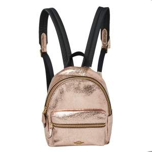 Coach Metallic Rose Gold Leather Mini Charlie Backpack